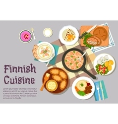Sunday breakfast dishes of finnish cuisine icon vector