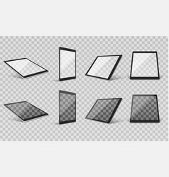 tablet realistic transparent set vector image