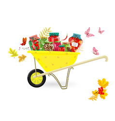 tasty pickled foods in garden cart for your design vector image