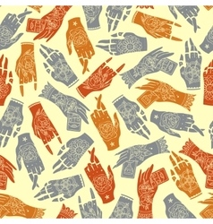 Tattoo hands seamless pattern vector