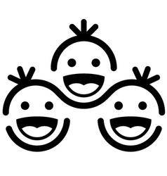 Together smiling children team symbol vector