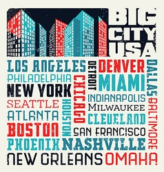 Typography design with united states cities vector