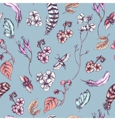 Vintage seamless background with flowers beetles vector image vector image