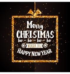 Xtmas and Happy new year golden banner vector image vector image