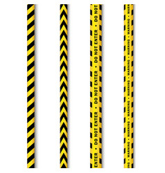 Yellow black police tape set isolated vector