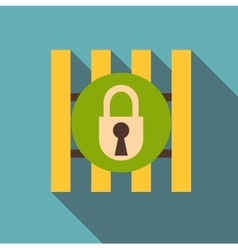 Iron bars door with padlock icon flat style vector image