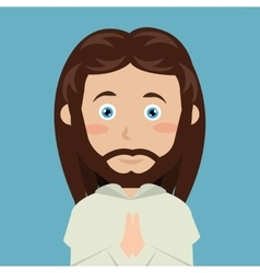 Cartoon face jesus christ blue eyes design vector