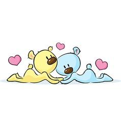 lying bears in love vector image