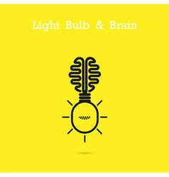 Creative brain logo and light bulb icon vector