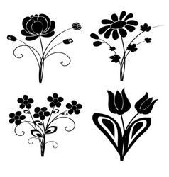 silhouette flowers set 2 vector image