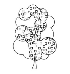 Silhouette leafy tree with pixels square vector