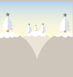Flat design christmas tree on mountain with snow vector