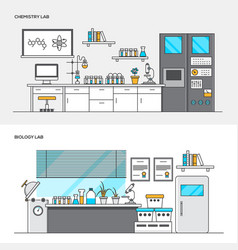 Flat line color concept- chemistry and biology lab vector