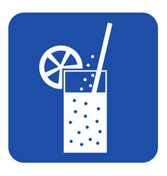 Blue white sign - carbonated drink straw citrus vector