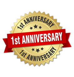 1st anniversary round isolated gold badge vector