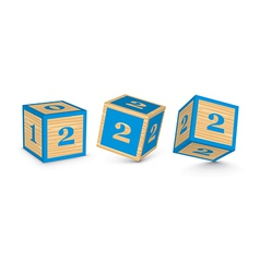 Number 2 wooden alphabet blocks vector