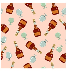 Seamless pattern bottles and glasses vector