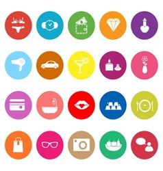 Lady related item flat icons on white background vector