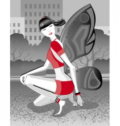 girl butterfly vector image