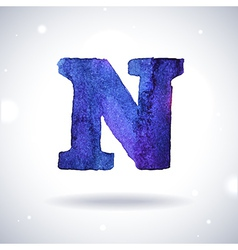 Watercolor letter n vector