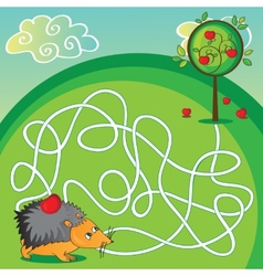 Maze for kids - help the hedgehog to get to the vector
