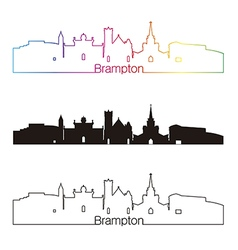 Brampton skyline linear style with rainbow vector