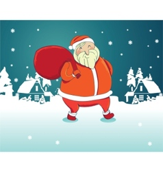 Smiling santa claus with winter landscape vector
