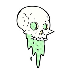 Gross halloween skull comic cartoon vector