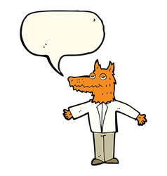 Cartoon wolf with speech bubble vector