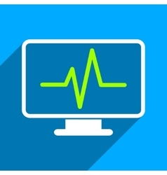 Cardiogram monitoring flat square icon with long vector