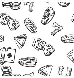 Seamless pattern casino set symbols black and vector