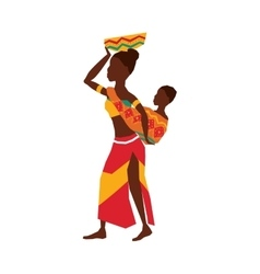 African woman baby vector