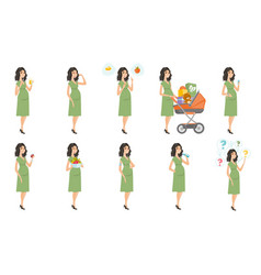 Caucasian pregnant woman set vector