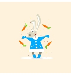 Christmas rabbit and falling carrots vector