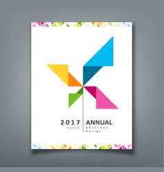 cover annual report turbine origami paper vector image vector image