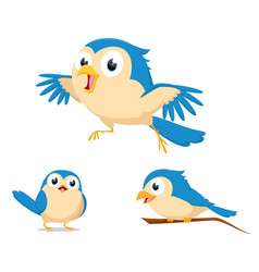 cute blue bird cartoon vector image vector image