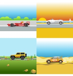 Digital red orange and silver auto car vector image vector image
