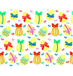 easter eggs with bows vector image vector image