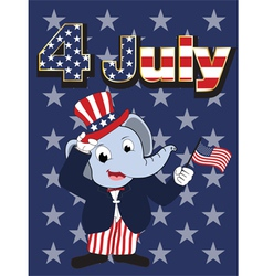 Elephant head man cartoon cheerful in 4 july vector