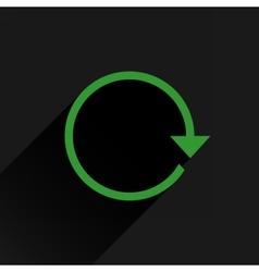Flat green arrow icon refresh rotation sign vector