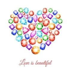 Gemstones Heart Shape vector image