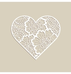Heart shape with hand drawn floral ornament vector