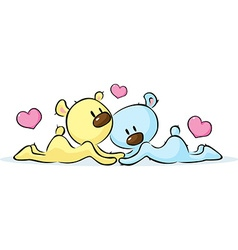 lying bears in love vector image