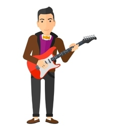 Musician playing electric guitar vector image vector image