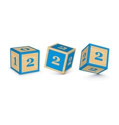 Number 2 wooden alphabet blocks vector