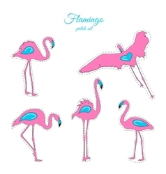 Pink blue flamingo birds fashion patch badges set vector