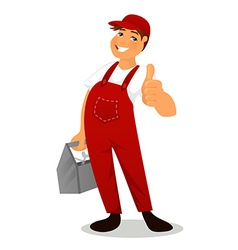 Plumber in red overall vector image