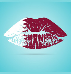 qatar flag lipstick on the lips isolated on a vector image