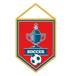 Red soccer pennant isolated white vector image vector image