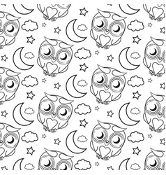 Seamless pattern owl vector